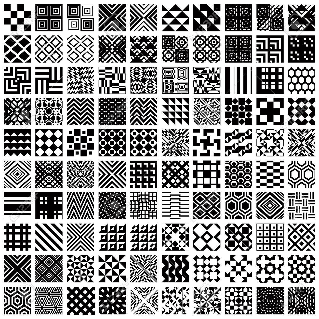 100 Geometrische Nahtlose Muster Eingestellt Schwarz Und Weiß