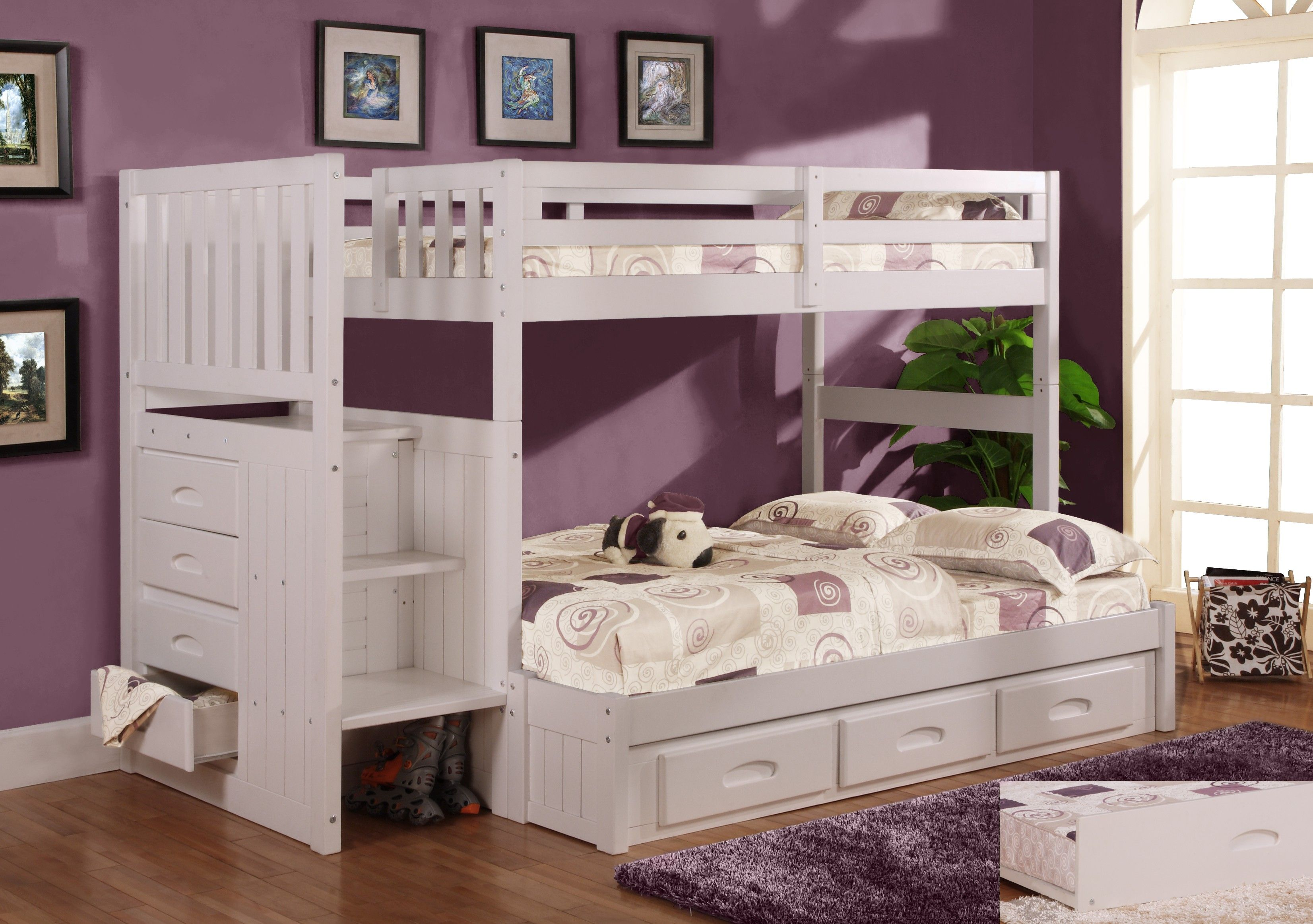 Discovery World Furniture Twin Over Full White Staircase Bunk Bed In