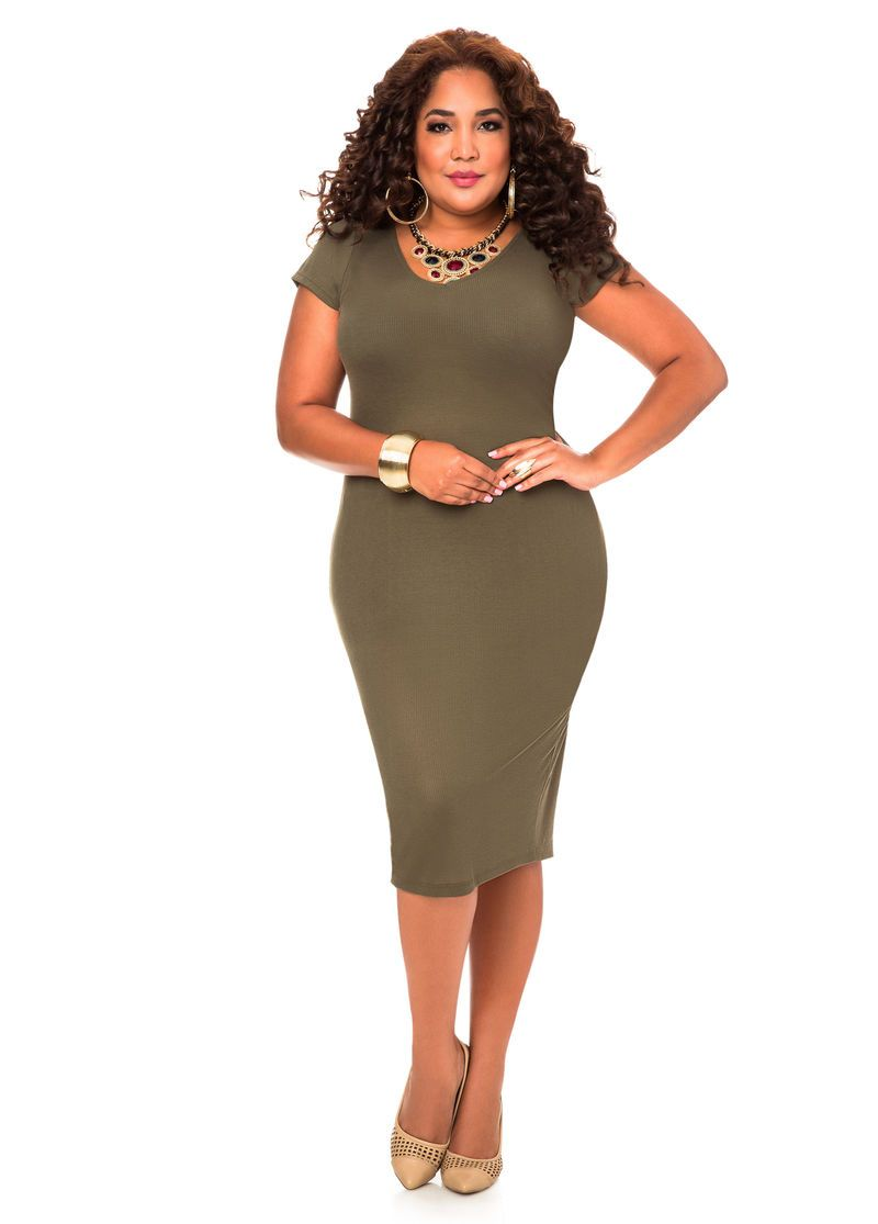 2c6acc83aa397 V-Neck Knit Middi Dress-Plus Size Dresses-Ashley Stewart