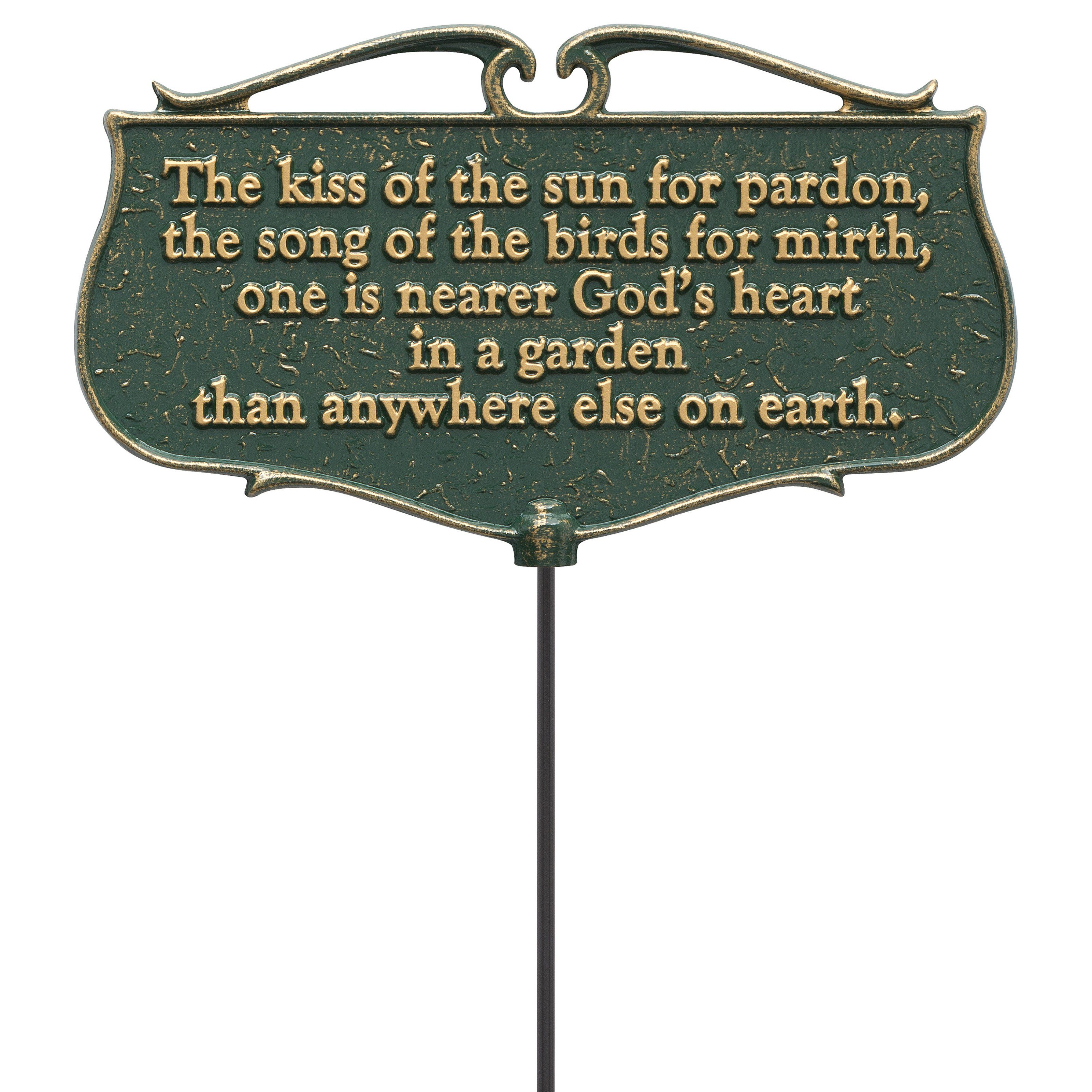 The Kiss Of The Sun Garden Poem Sign 10046 Products Garden