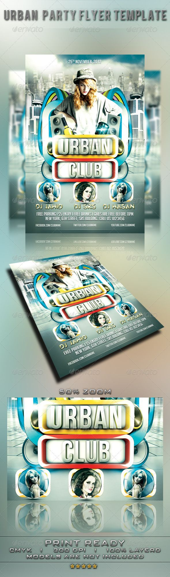 Urban Party Flyer Template GraphicRiver Include 1 psd