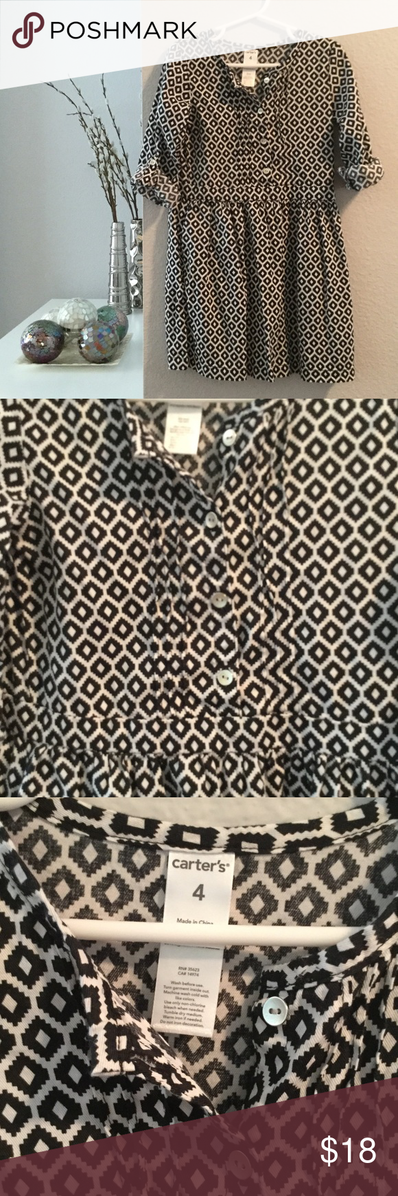 Carter's black and white patterned shirt dress Carter's long-sleeve shirt dress with allover black and white geometric pattern. Long sleeves can be rolled up and buttoned to create shorter sleeves. Lightweight material. Like new, worn once. Carter's Dresses