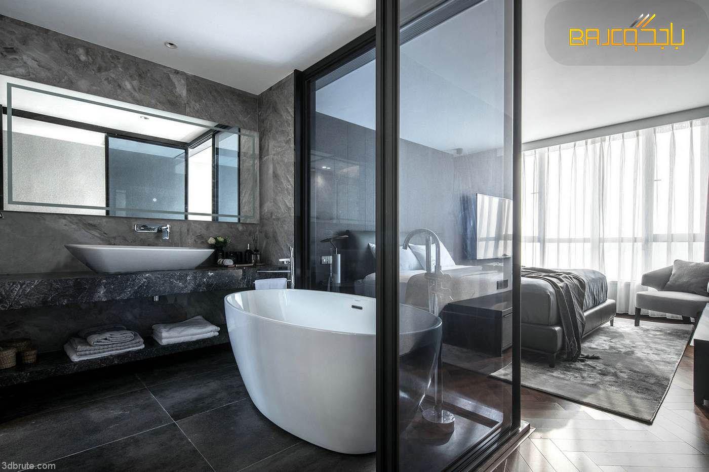 مغاسل رمادي Marble Bathtub Bathroom