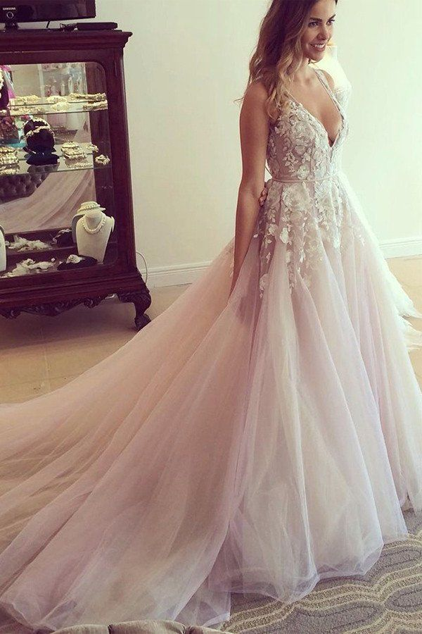 Scoop V Neck Long Wedding Dress Prom With Appliques PG359 Colored DressesBeige