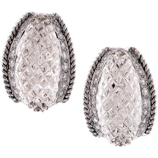 SABBADINI Italian Rock Crystal Diamond White Gold Earrings - Fourtane found on Polyvore