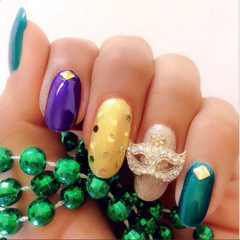 31 #Fantastic Mardi Gras Nail Art #Ideas ... | Nail design ...