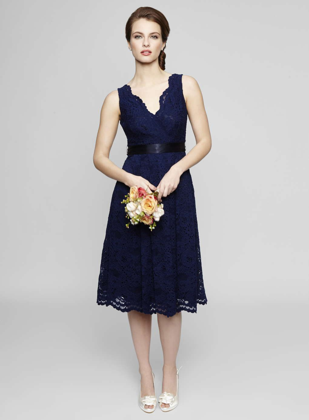 Sleeveless V Neck Tea Length Lace Bridesmaid Dress | Hannah\'s ...