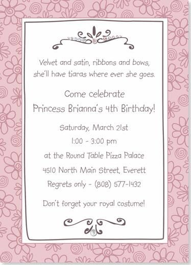 Birthday Party Invitations Princess Tiara Birthday Party