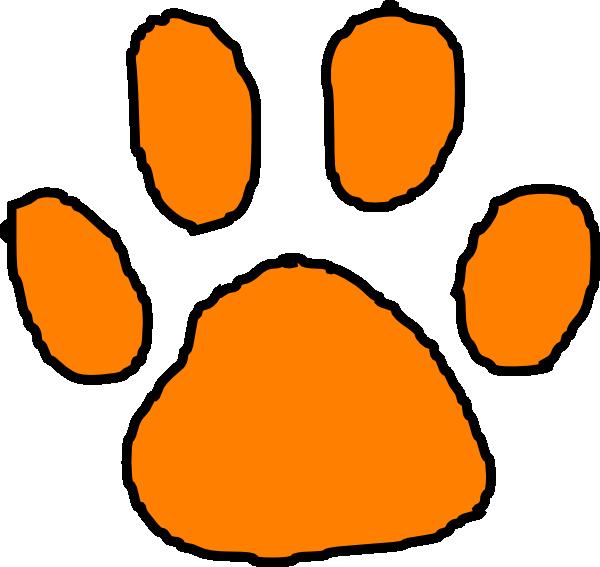 orange tiger paw with black outline