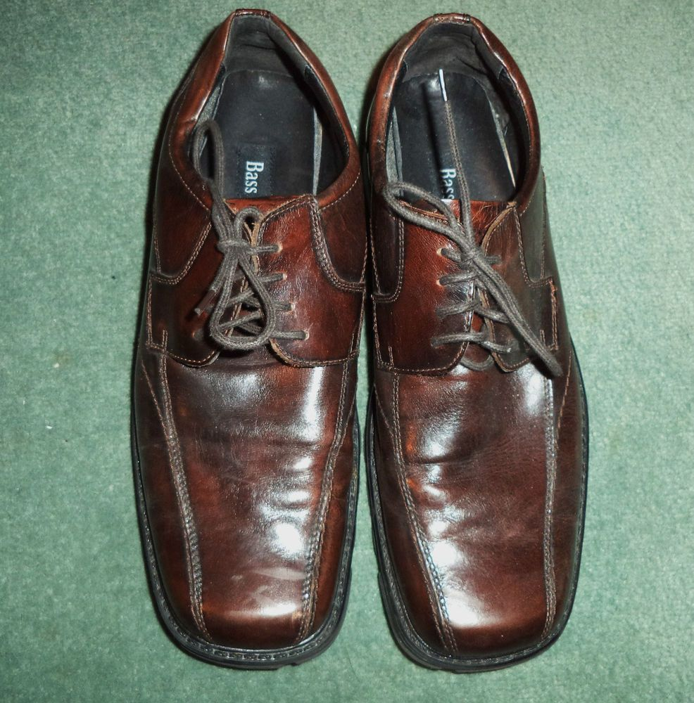 Men's Brown Cherry Wood BASS & CO. Lace Up Dress Oxford Shoes, Size 10.5M, GUC! #BASSCOTHOMPSONLine #Oxfords