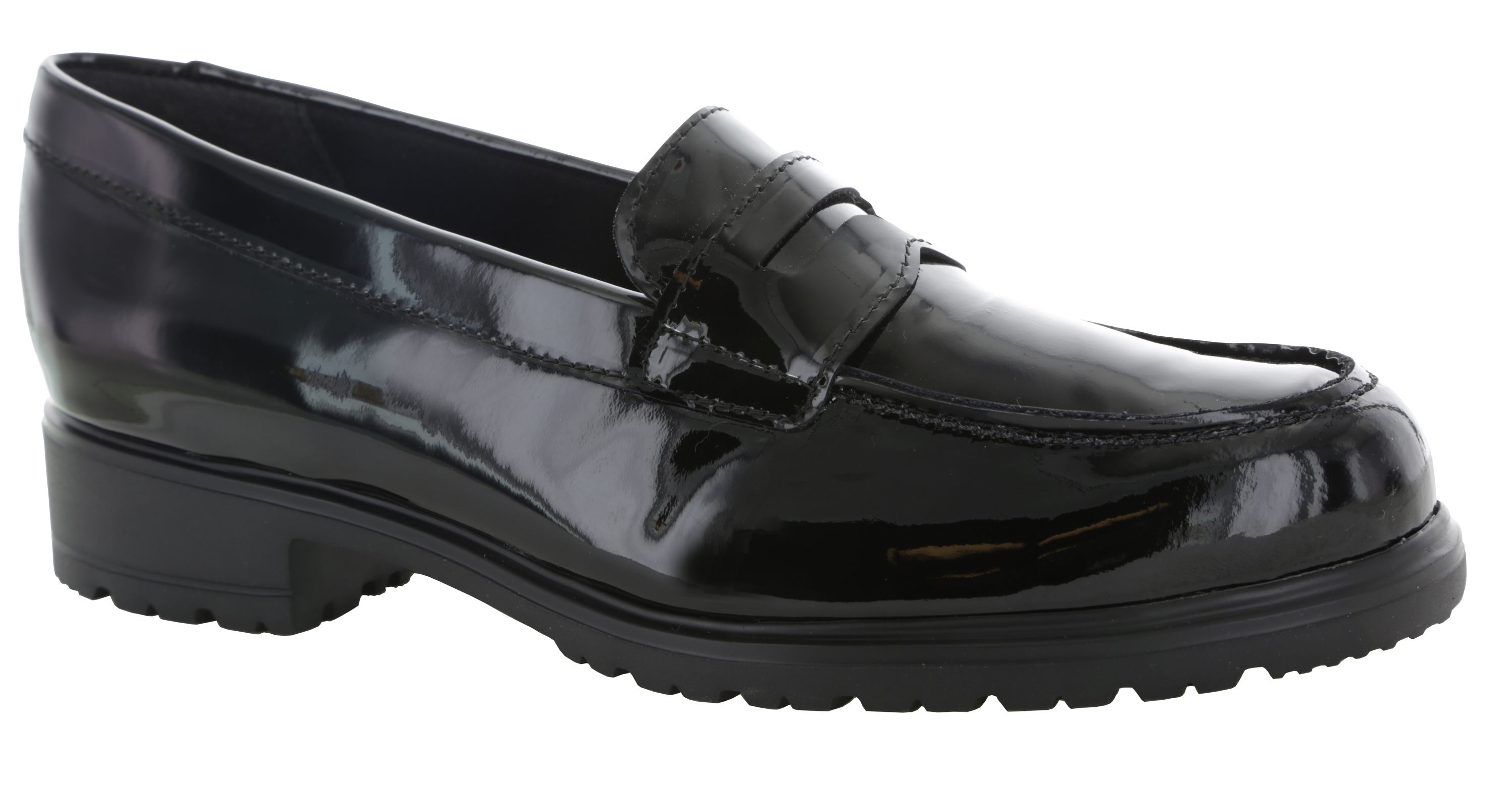 Black patent leather, very trendy, must have, penny loafer ...