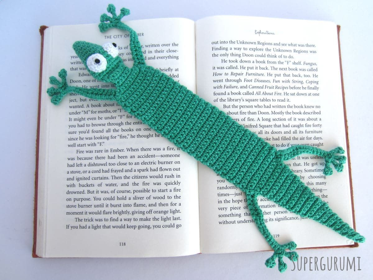 Crochet gecko bookmark crocheting pinterest geckos free pattern this adorable gecko bookmark will make your day a little brighter knit and crochet daily bankloansurffo Images