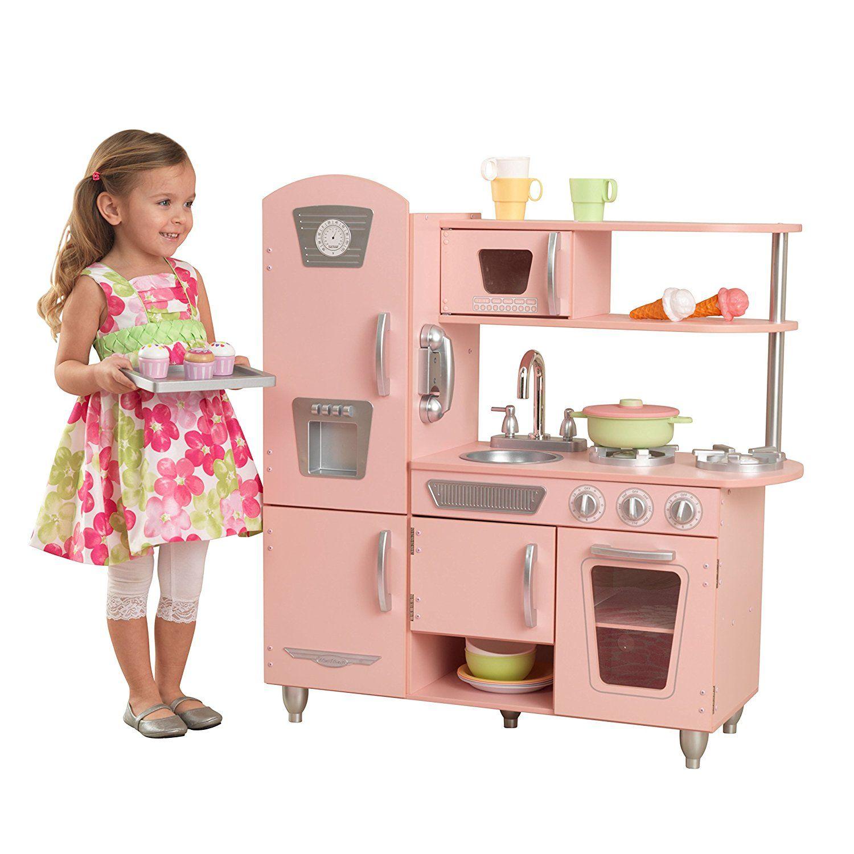 Kidkraft Cuisine Enfant En Bois Vintage Rose Jouet Pas Cher Amazon Jouets Jeux Jouets Ventes Pas Cher Com Kidkraft Vintage Kitchen Pink Play Kitchen Wooden Play Kitchen