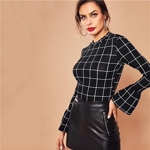 0cd20c5b20a3 SHEIN Black Elegant Workwear Plaid Ruffle Cuff Bell Sleeve Stand Collar  Grid Blouse Autumn Office Lady Women Tops And Blouses