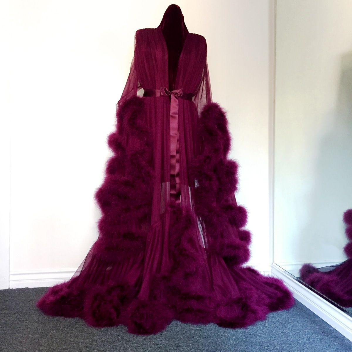 Cassandra Merlot Marabou Dressing Gown Fashion Lingerie Robe