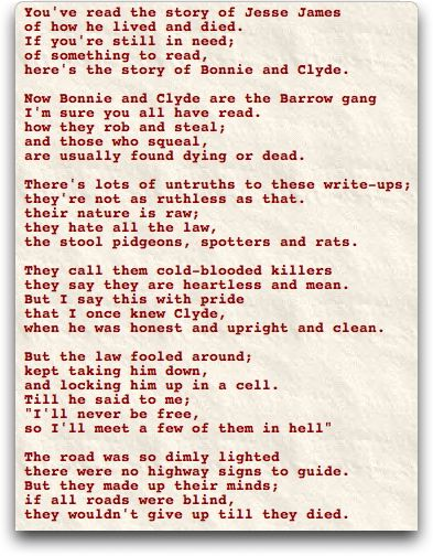 Analysis clyde bonnie story poem and the of Bonnie Parker