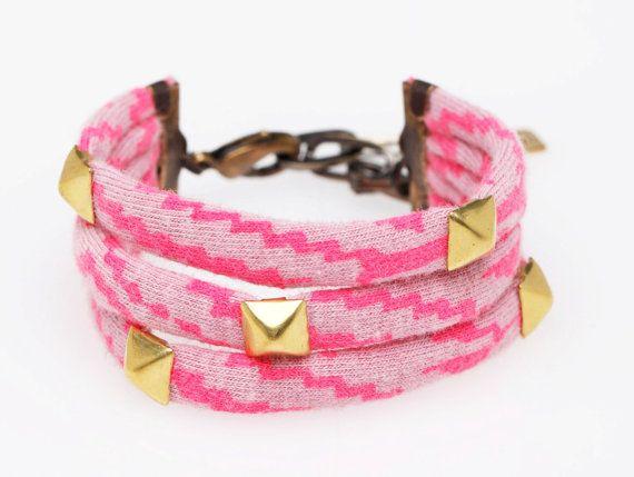Studded Cuff Bracelet in Hot Pink 'Maze'