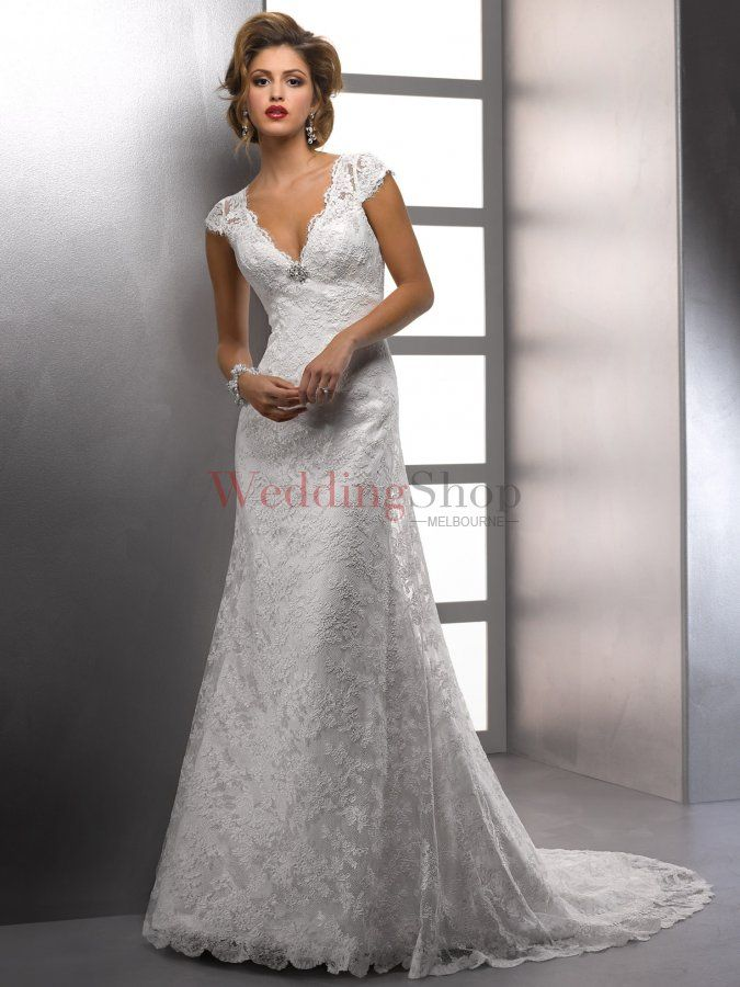 Glamorous A Line V Neck Chapel Train Lace Wedding Dress 30441