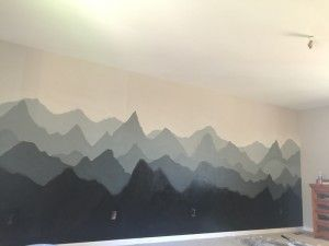 Two Color Gradient Mountain Wall So Easy Love Love Love Diy Mountainmural Mountain Mural Mural Wall Murals Diy