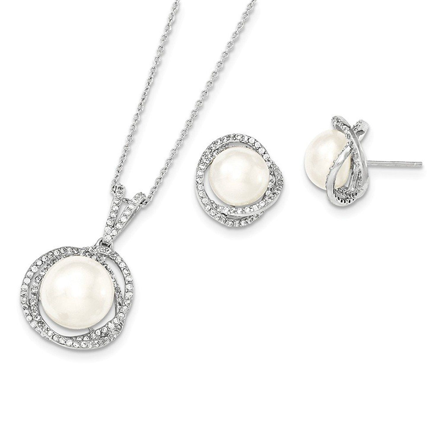 Sterling silver mm white freshwater cultured pearl synthetic cz