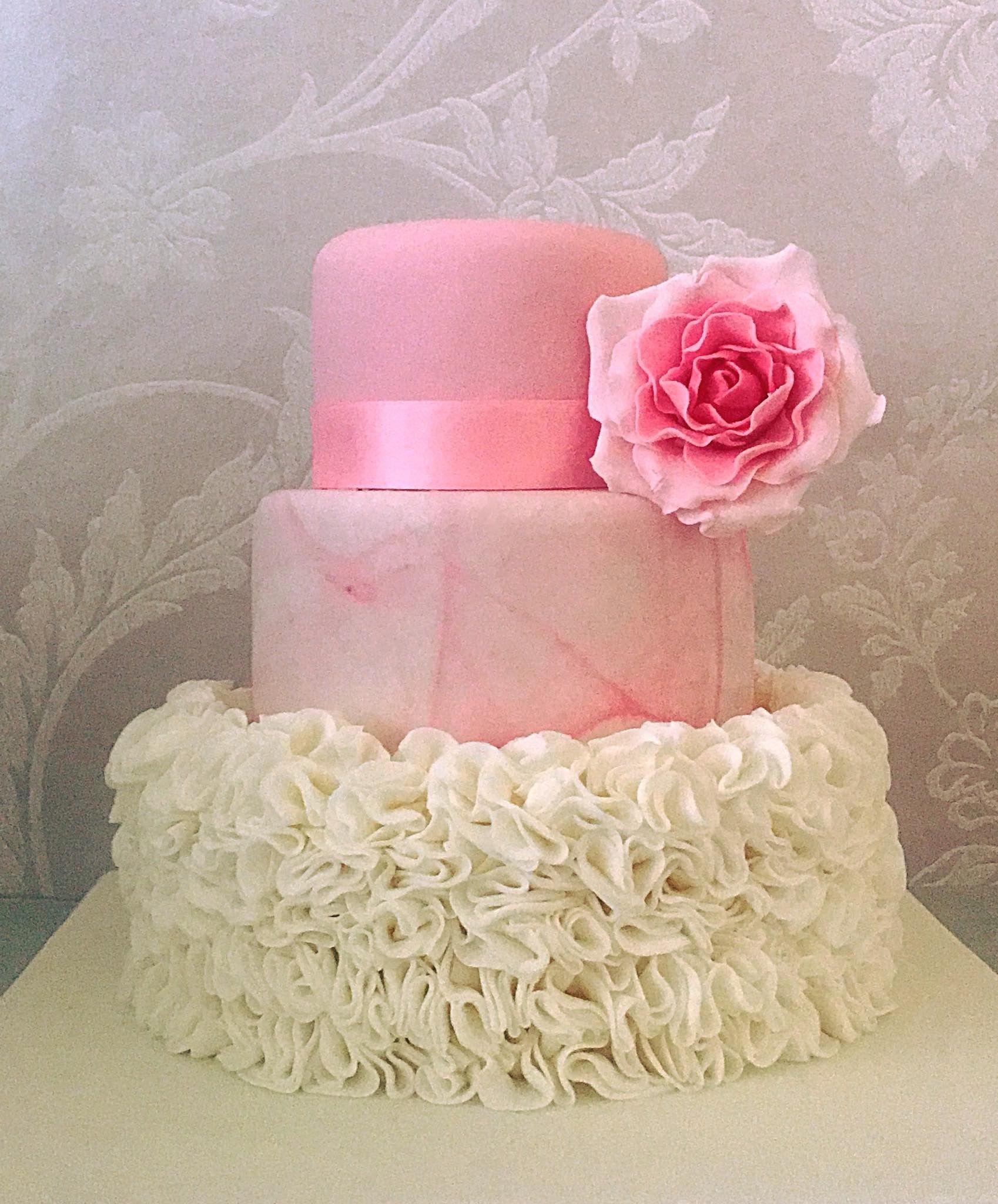 Pink marble and white ruffle wedding cake xx | KupKates | Pinterest ...