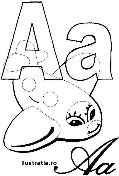 Fisa De Colorat Cu Litera A Ilustratii Pentru Scoala Alphabet