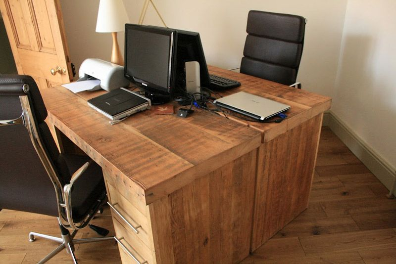 Wooden office desk Reclaimed wood office desk Rustic office desk