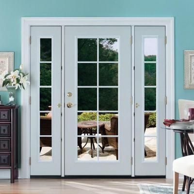 Masonite 64 In X 80 In Premium 6 Panel Primed Steel Prehung Front Door With Two 10 In 5 Lite Sidelite 45087 Single Patio Door Patio Doors Glass Doors Patio