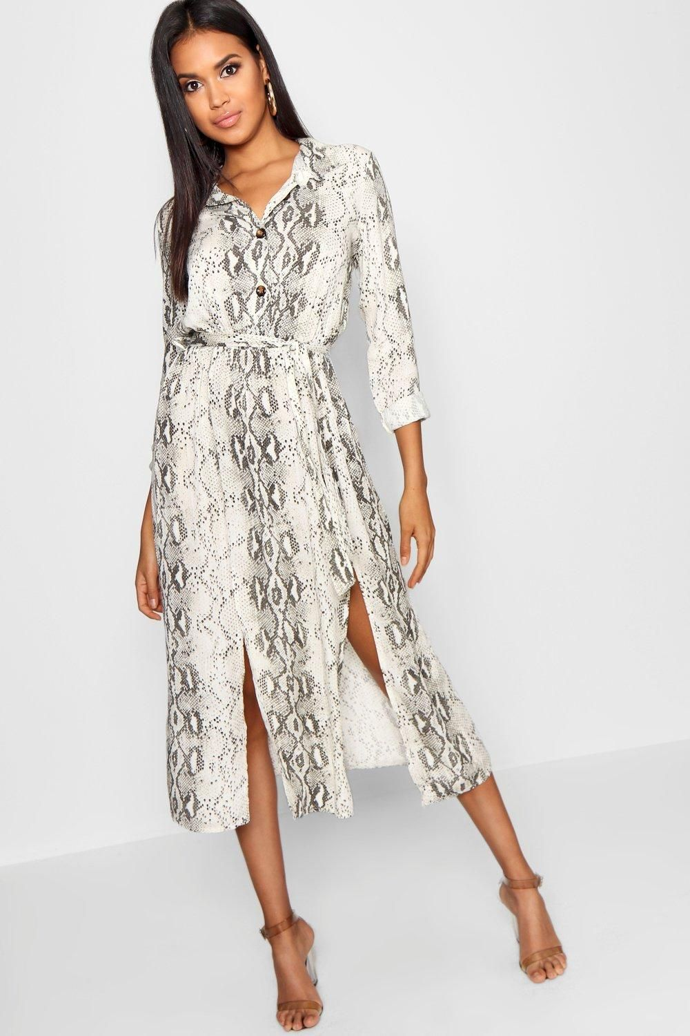 3932e13aee17 Click here to find out about the Snake Tie Belt Split Detail Midi Dress  from Boohoo, part of our latest Suits & Separates collection ready to shop  online ...