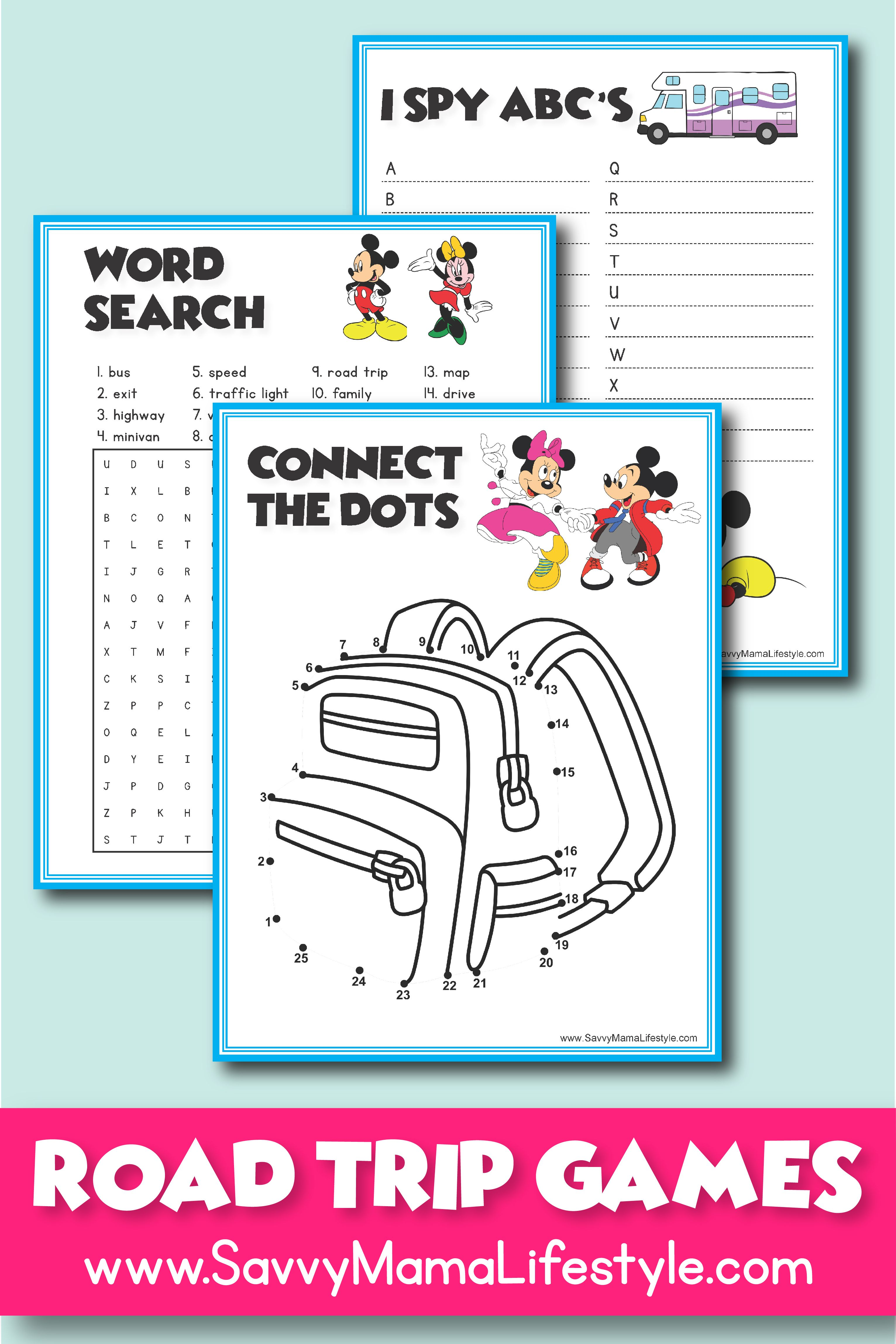 photo regarding Free Printable Road Trip Games identified as 3 Disney Street Vacation Game titles: Cost-free Printable Things to do For The