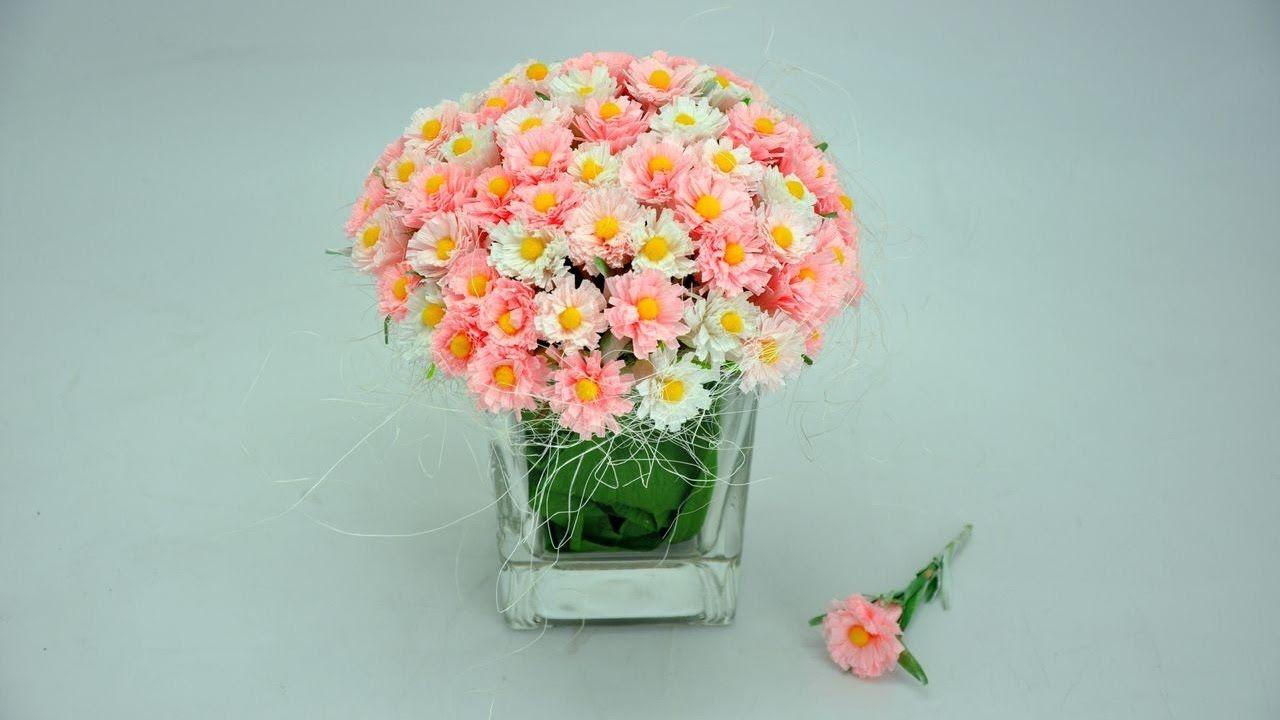 Jak Zrobic Stokrotki Z Bibuly How To Make Paper Flowers Daisies Diy How To Make Paper Flowers Paper Flowers Paper Daisy