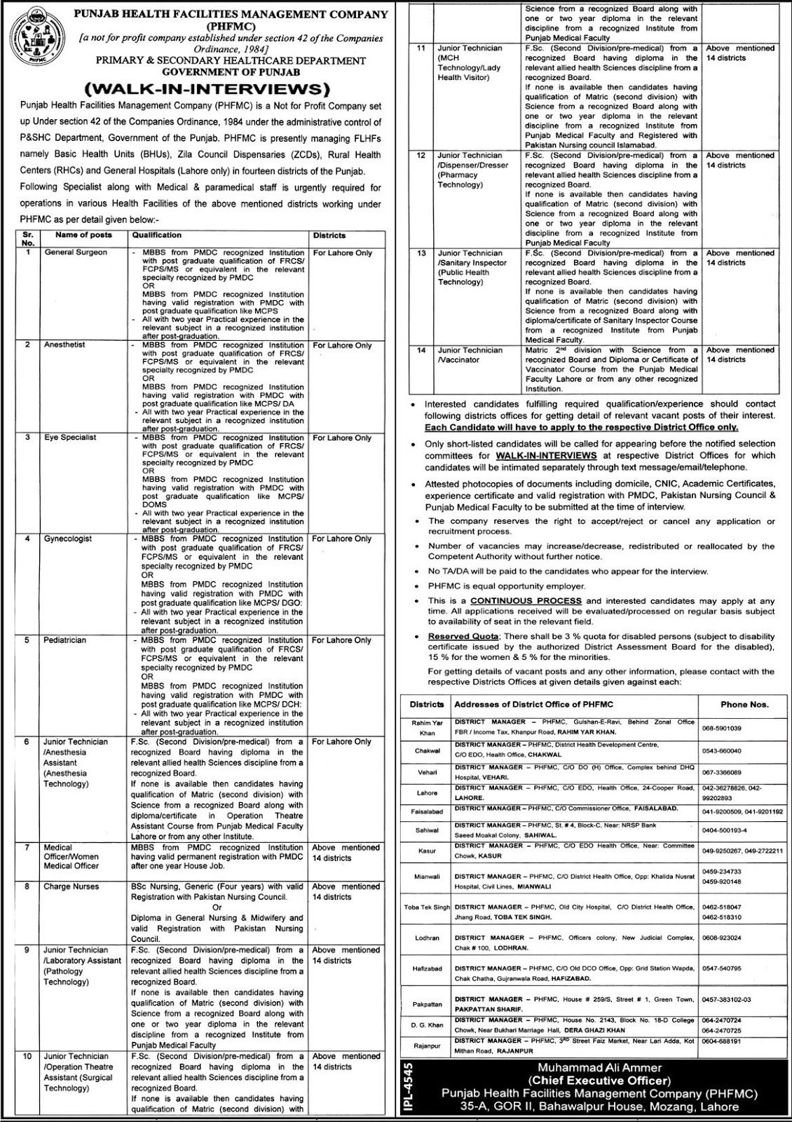 Jobs in Primary and Secondary Health Care Department