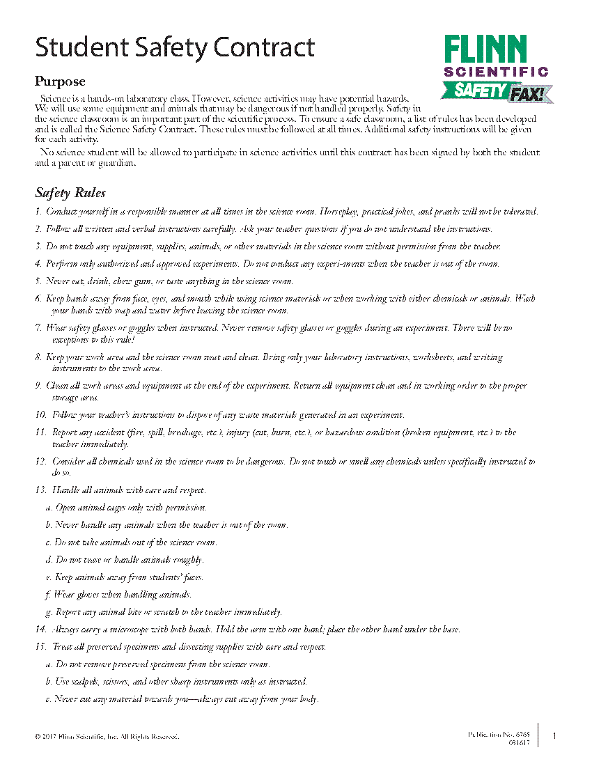 Middle School Science Safety Contract  Basic Skills For Science