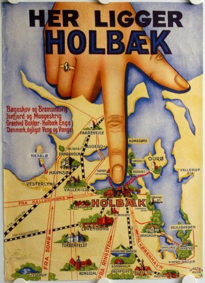 Holbk ligger p Nordvestsjlland og er p plakaten rimelig let at