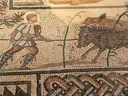 Suelo de mosaico de Villelaure con Diana y Calisto rodeado de escenas de caza.  Este mosaico galo-romana se encontró en Villelaure, Francia, y data del siglo tercero.  Cortesía del LACMA , EE.UU.. M.71.73.99. Fotos tomadas por  María Harrsch