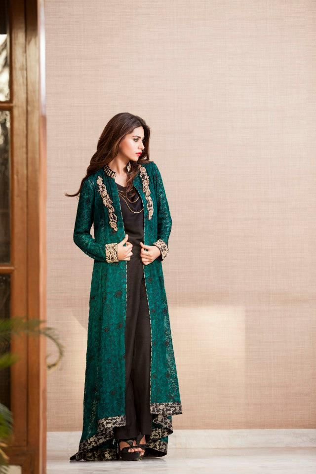 f1187cf41f Black jumpsuit with green jacket. | Eid pret Collection | Eid ...