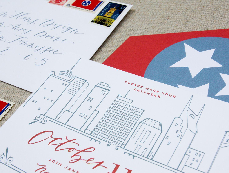 Nashville letterpress invitation / custom design / downtown skyline ...