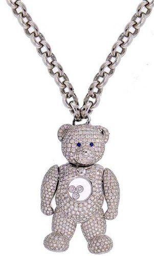 fc42fff316174f Amazon.com: Chopard 18K White Gold 8.30CT Diamond Movable Teddy Bear Pendant  & Chain 130.4G: Pendant Necklaces: Jewelry