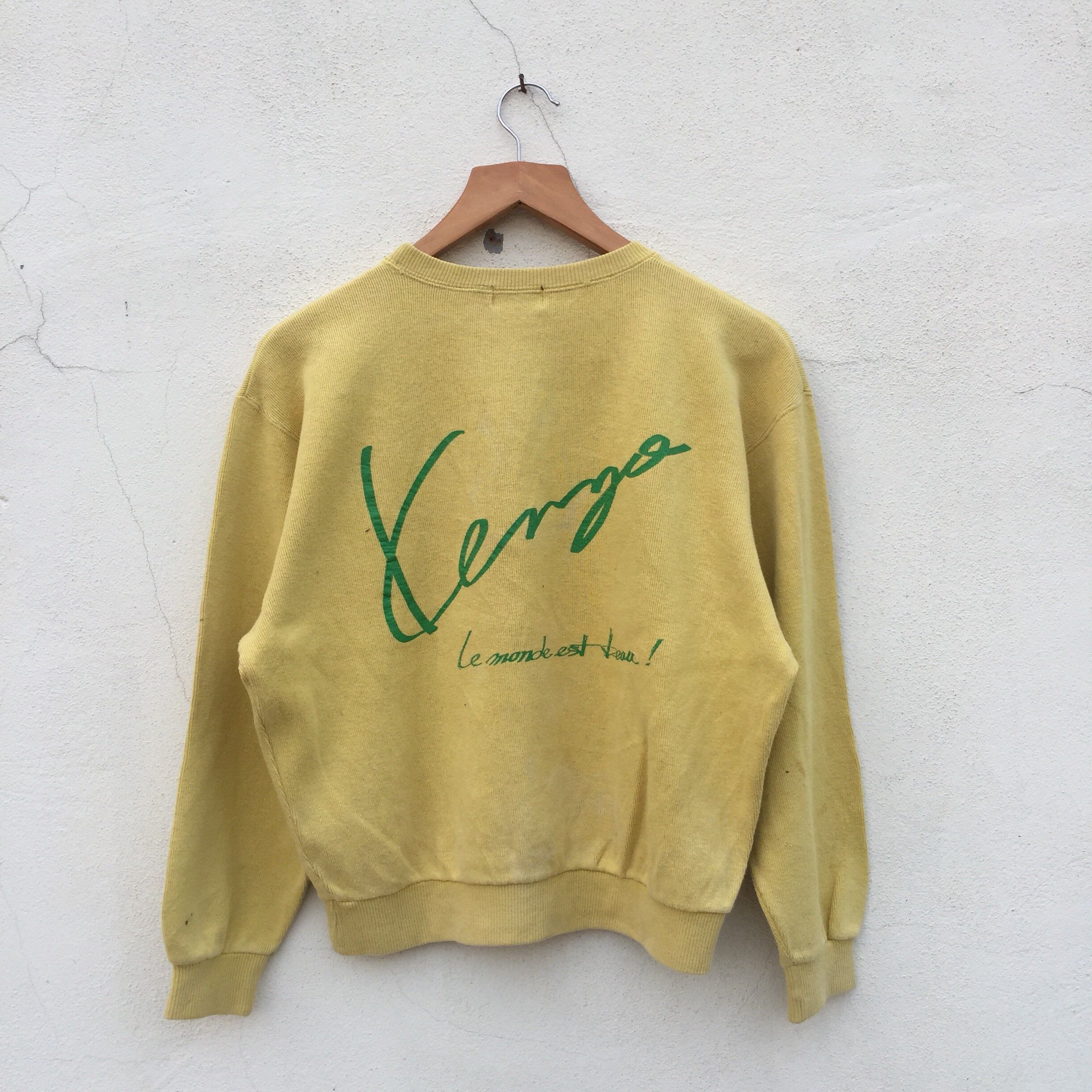 9d3b4f25 Excited to share this item from my #etsy shop: Vintage 90s KENZO PARIS  yellow mustard colour sweatshirt big logo crewneck kenzo sweatshirt jumper  pullover ...