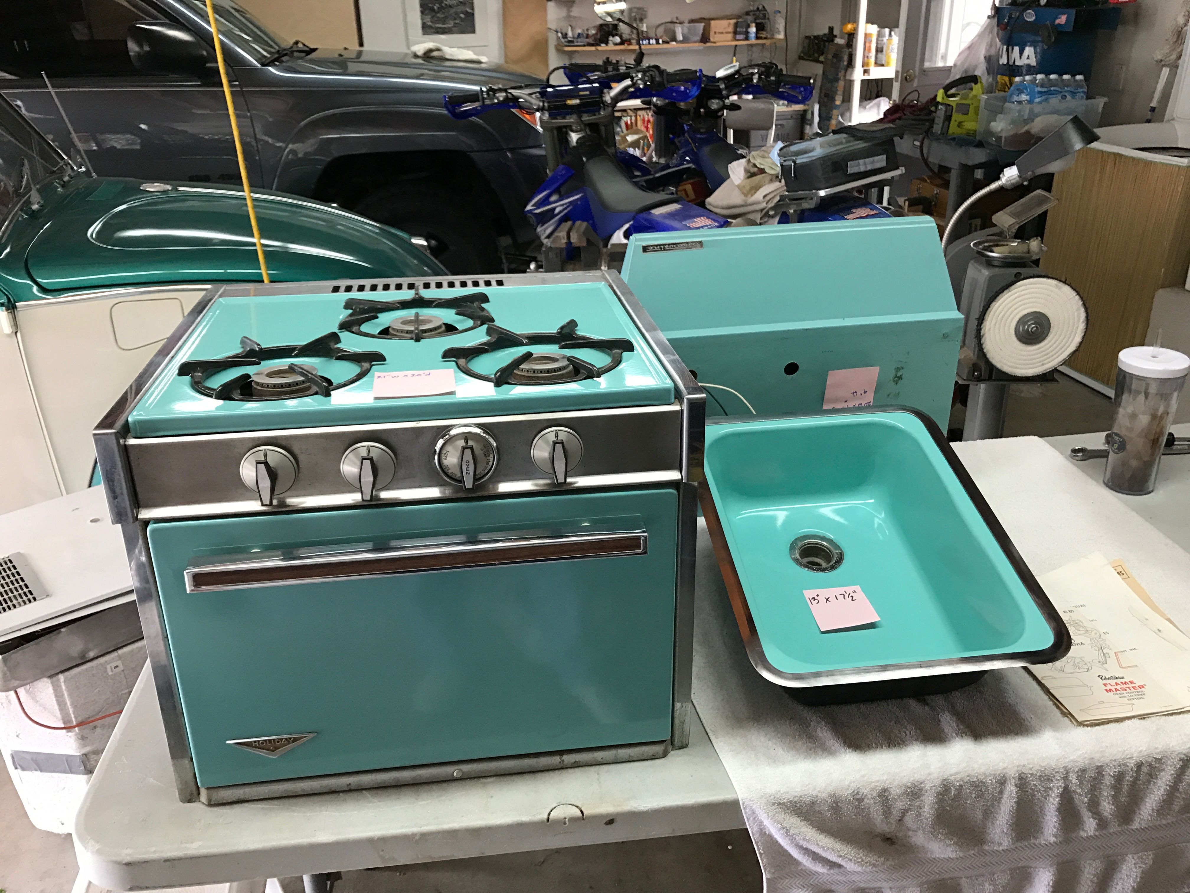 Robin egg blue Airstream stove and range hood for sale | 1967 ...
