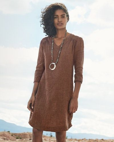 a5ab2452bd Poetry - V-neck linen crinkle dress - In a crisp and textured crinkled linen  and cotton blend this easy summer weight dress has a deep v-neckline with a  ...
