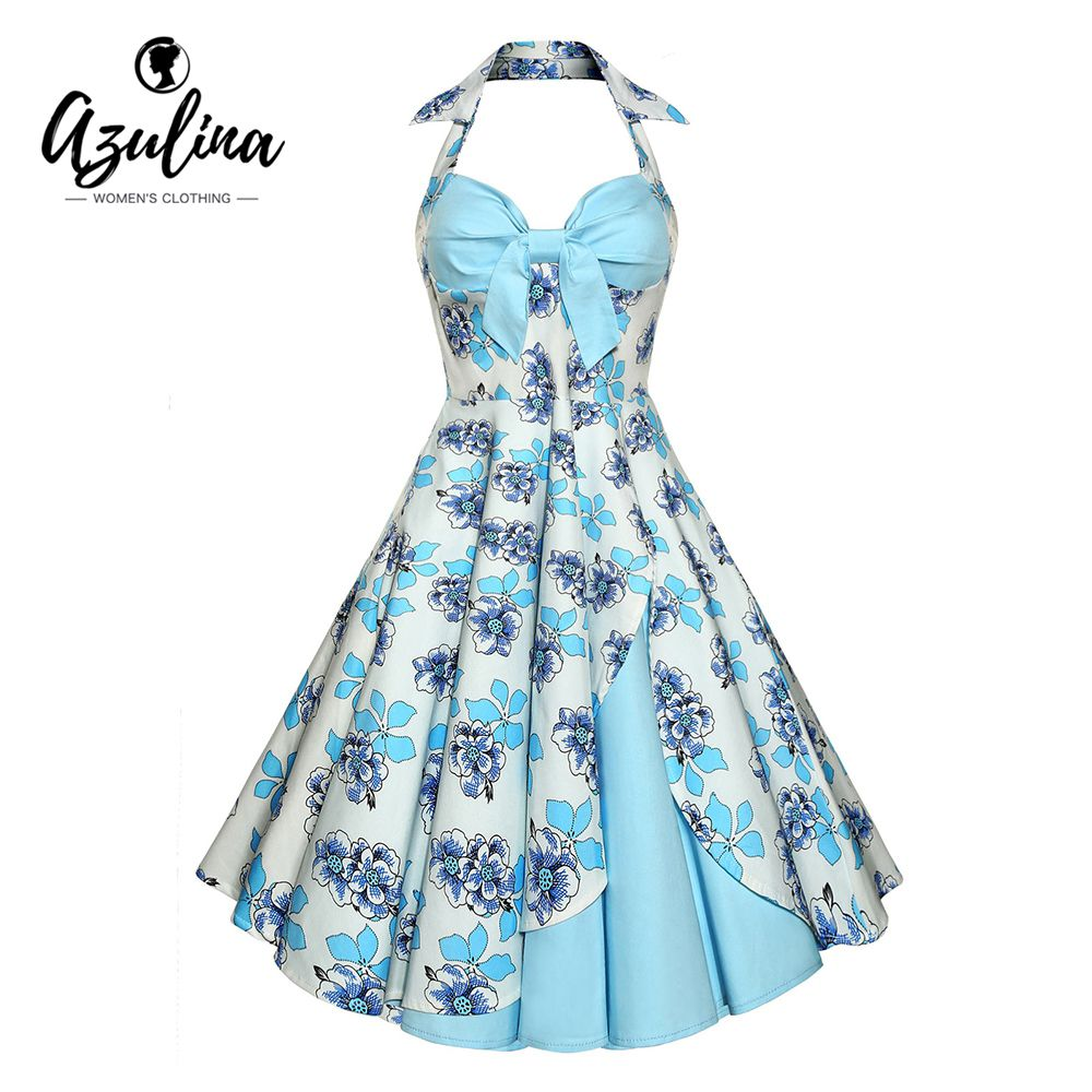 AZULINA Floral Print Vintage Women Dress 2017 Summer Sleeveless ...