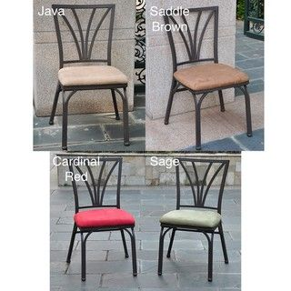 @Overstock.com - Switch out tired seating for these attractive dining chairs. Ideal for indoor use as well as your outdoor dining area, this set of two sturdy iron chairs is weather resistant, and the solid-colored cushions will not fade from sun exposure.http://www.overstock.com/Home-Garden/Santa-Fe-Iron-Dining-Chairs-with-Micro-Suede-Upholstered-Seat-Set-of-2/6014941/product.html?CID=214117 $159.99