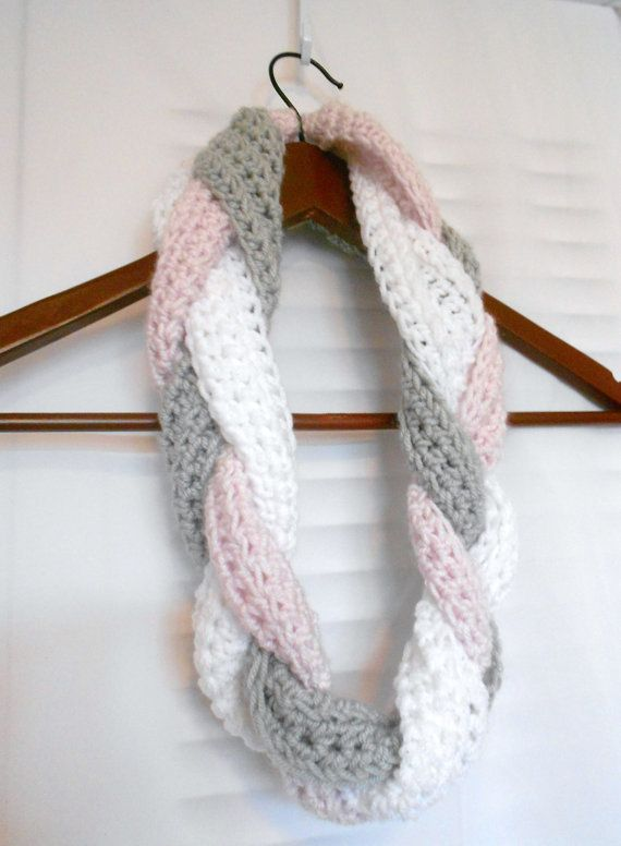 Crochet Braided Scarf Cowl/Infinity pink grey white very by ...