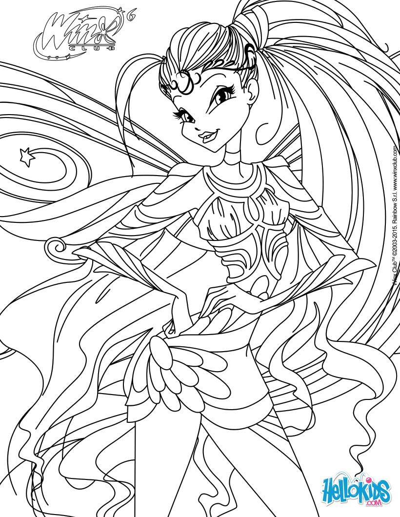 Interactive Coloring Pages For Adults : Stella transformation bloomix coloring page paper art