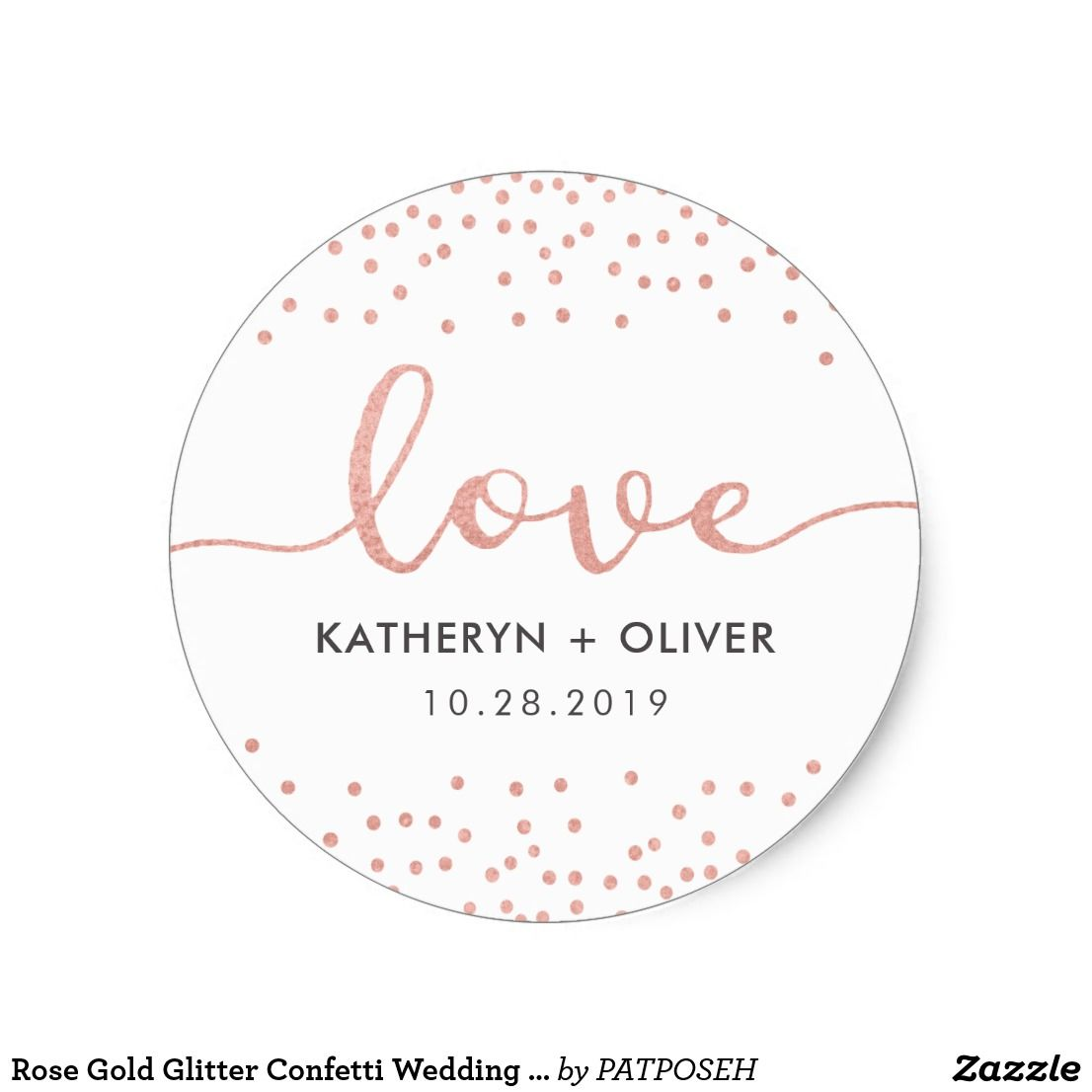 Rose Gold Glitter Confetti Wedding Sticker Favors | Glitter confetti ...