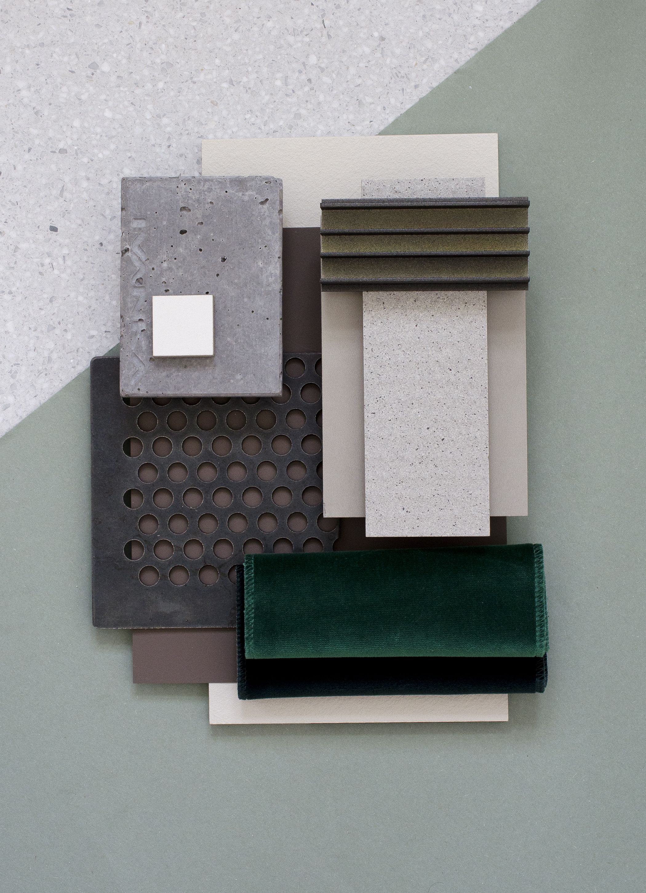 Material mood for a private residence industrial simplicity soft green colour board