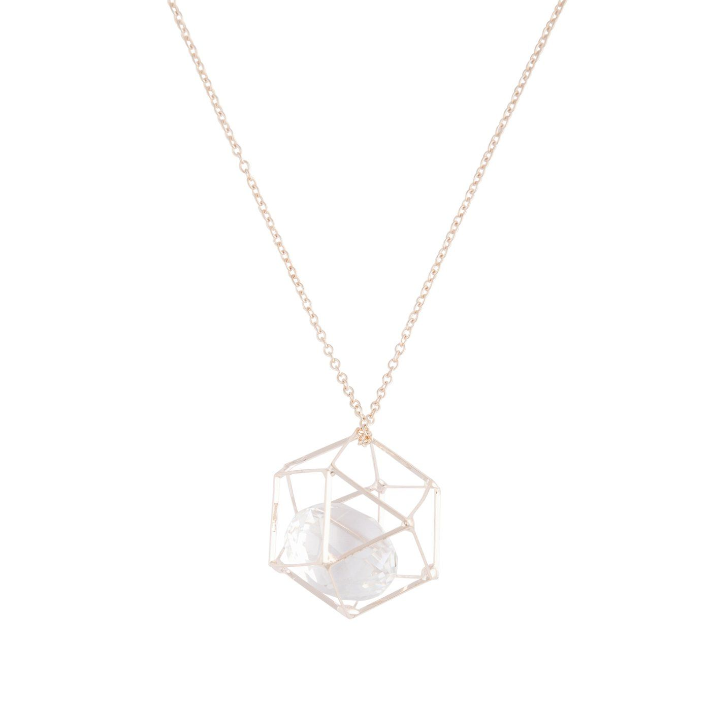 Rose Gold Station Cube Short Necklace Gold Jewelry Gift Rose Gold Chain Necklace Girlfriend Jewelry Gift