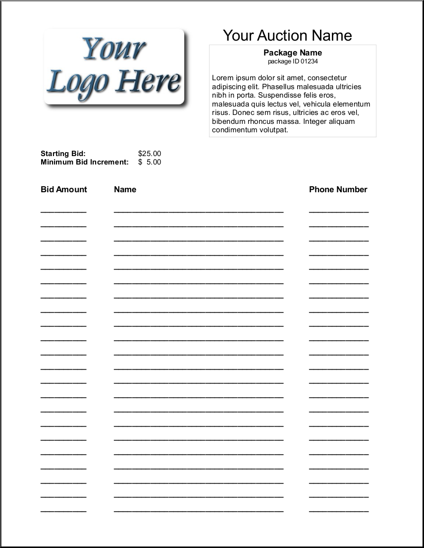 silent auction bid sheet template 1641 – Sample Silent Auction Bid Sheet