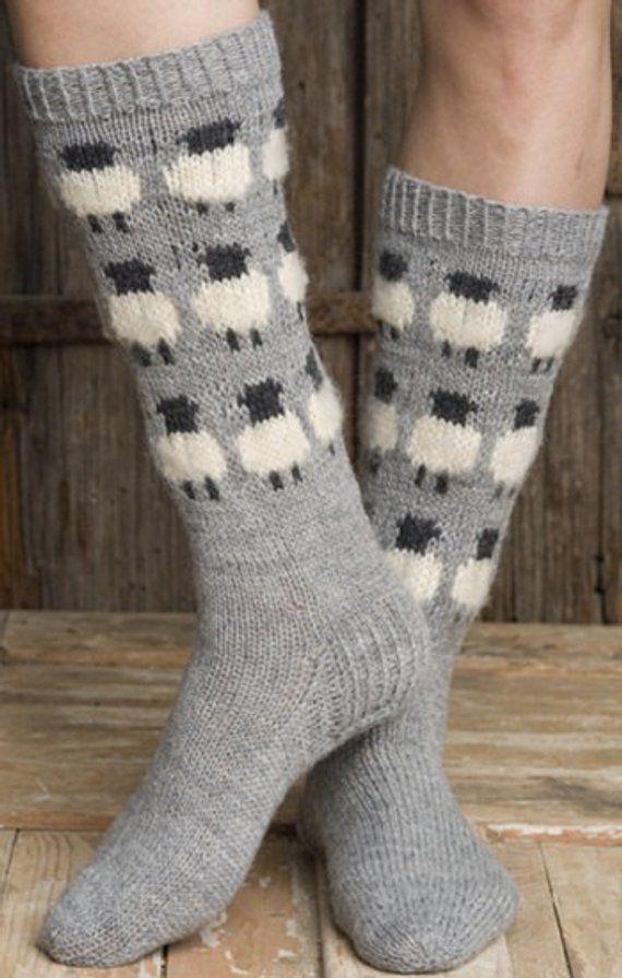 stricken Socken Socken aus Wolle gestrickte Socken skandinavischen Muster Norweger Socken Socken Weihnachtsgeschenk für Mann. Geschenk für Frau Männer Socken Männer Socken.